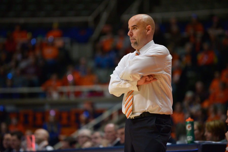 Women's basketball head coach Matt Bollant looks on as the Illini play a game against Nebraska at Jan. 12, 2014.