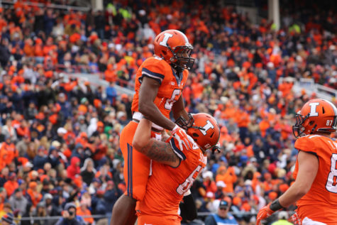 Illinois' Josh Ferguson (6) celebrates during the game against Purdue at Memorial Stadium on Saturday, Oct. 4, 2014. The Illini lost 38-27.