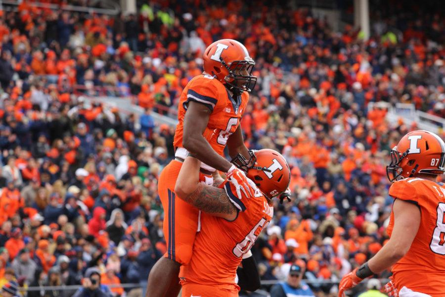 Illinois%27+Josh+Ferguson+%286%29+celebrates+during+the+game+against+Purdue+at+Memorial+Stadium+on+Saturday%2C+Oct.+4%2C+2014.+The+Illini+lost+38-27.