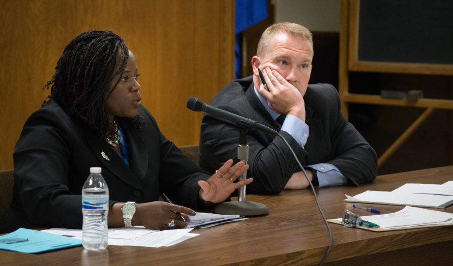 State Rep. Carol Ammons and State Sen. Scott Bennett discussed Illinois budget proposals with Champaign-Urbana residents at a town hall meeting onThursday, July 9.