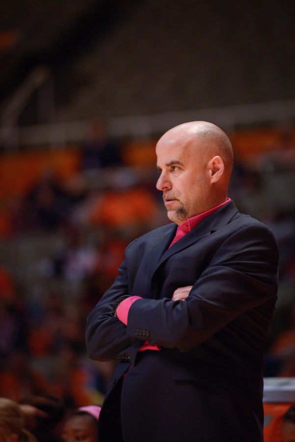 Illinois' Matt Bollant, head coach, watches over the game against Ohio State at the State Farm Center on Saturday, February 14, 2015.