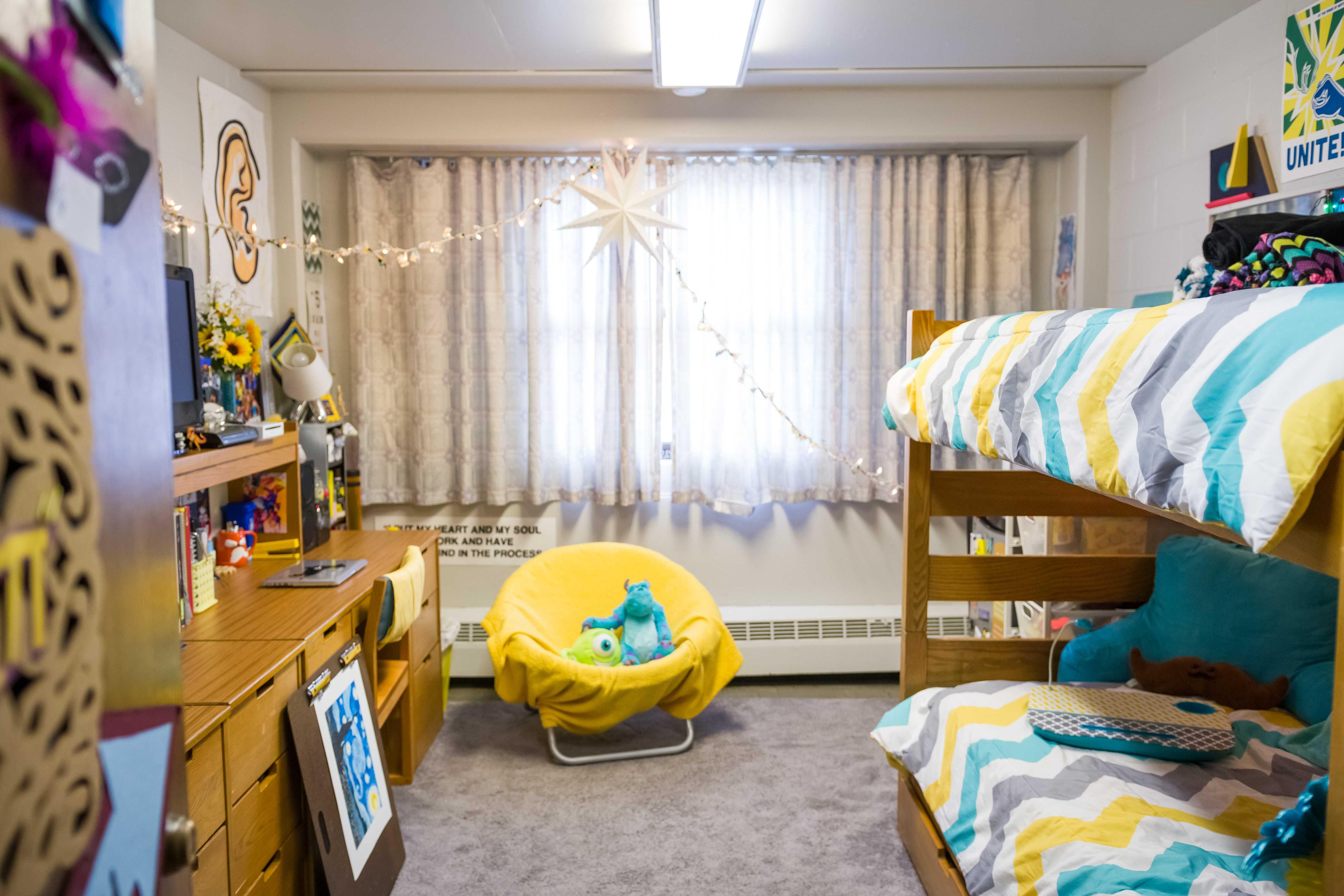 An organized dorm room in VanDoren Hall.