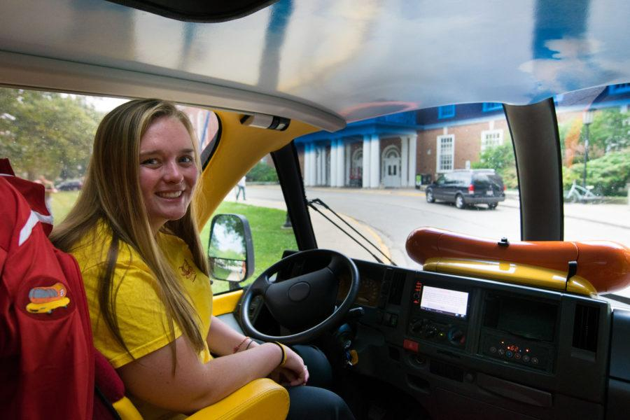 Kelly Burger, one of the drivers of the Wienermobile, is a University alumna. The Wienermobile stopped by Champaign-Urbana on Monday, July 27, and Tuesday, July 28.