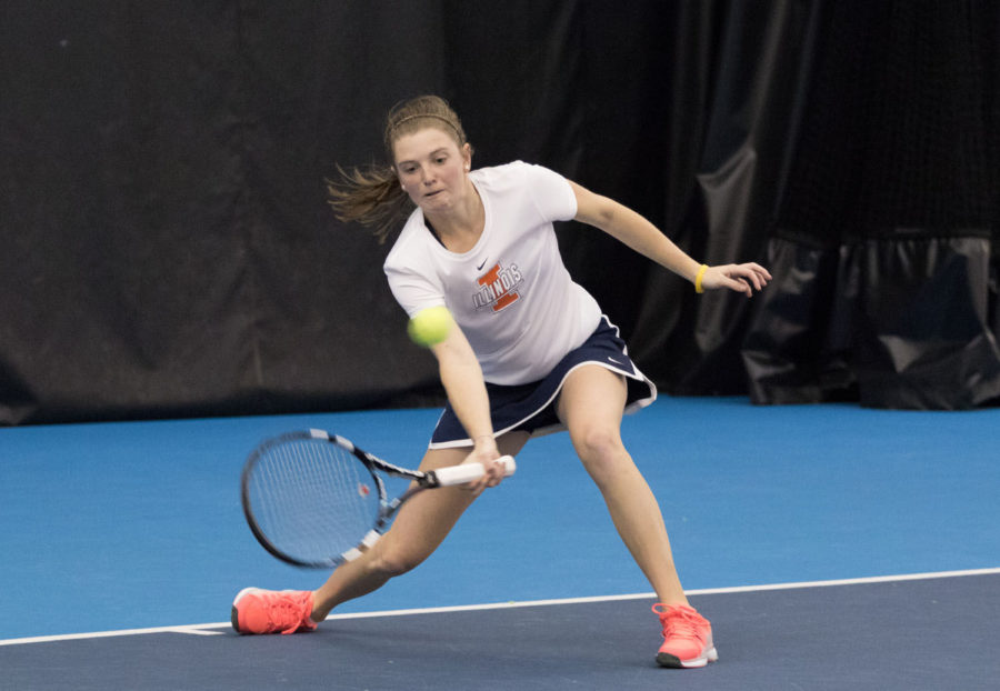 Illinois' Alexis Casati reaches for a return during the tennis match v. Marquette at Atkins Tennis Center on Sunday, Feb. 15. Illinois won 5-2.