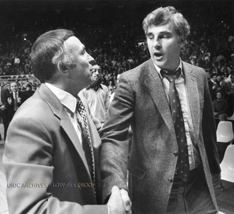 Illinois' head coach Lou Henson shaking hands with Indiana coach Bobby Knight following a 70-53 victory for the Illini in Champaign on March 4, 1984.