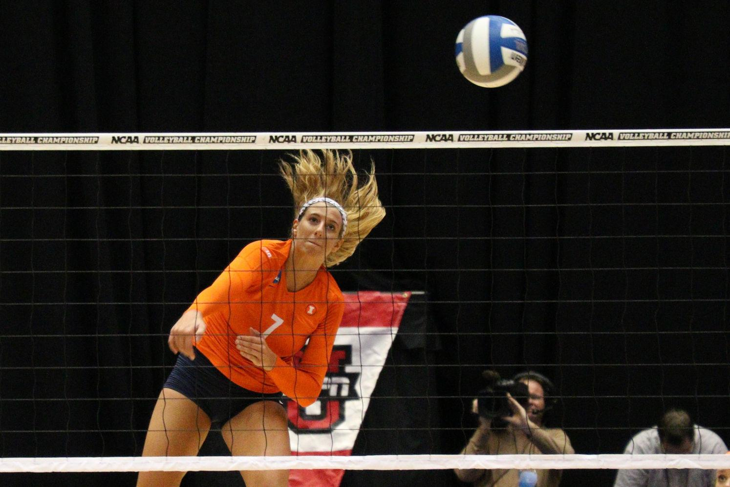 Illinois' Joceynn Birks (7) goes for an attack during the Sweet 16 match against Florida at Hilton Coliseum on Friday.