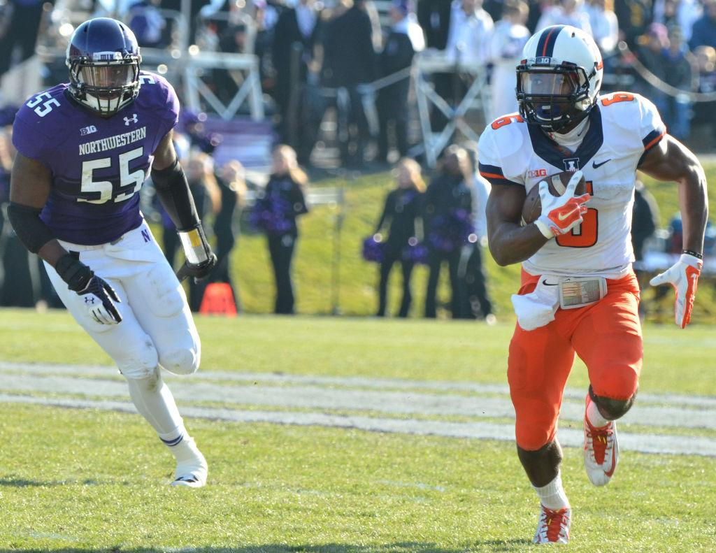 Illinois' Josh Ferguson (6) runs the ball during the game against Northwestern at Ryan Field in Evanston, Ill. on Saturday, Nov. 29, 2014. The Illini won 47-33. Several players are vying to be Ferguson's backup.