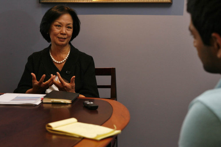 Chancellor Dr. Phyllis Wise speaks during an interview at Swanlund Administration Building on Friday, Oct. 7, 2011.