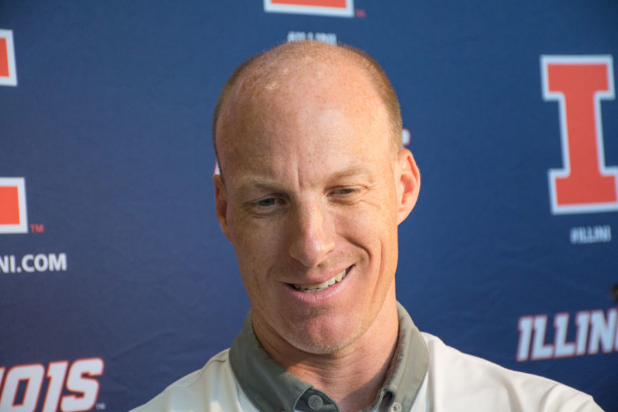 Illinois' men's basketball head coach John Groce addresses the media at Ubben Basketball Facility in Champaign on June 29.
