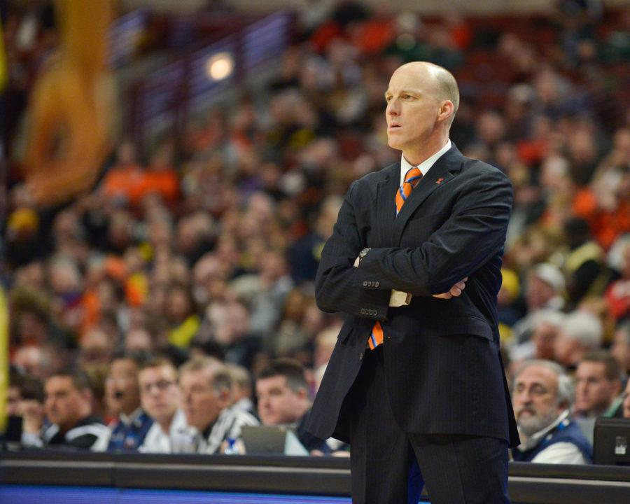 Illinois%27+head+coach+John+Groce+watches+the+game+against+Michigan+at+United+Center+in+Chicago+during+the+Big+Ten+Tournament+on+March+12.+Groce+hopes+to+strengthen+his+team+through+new+players.