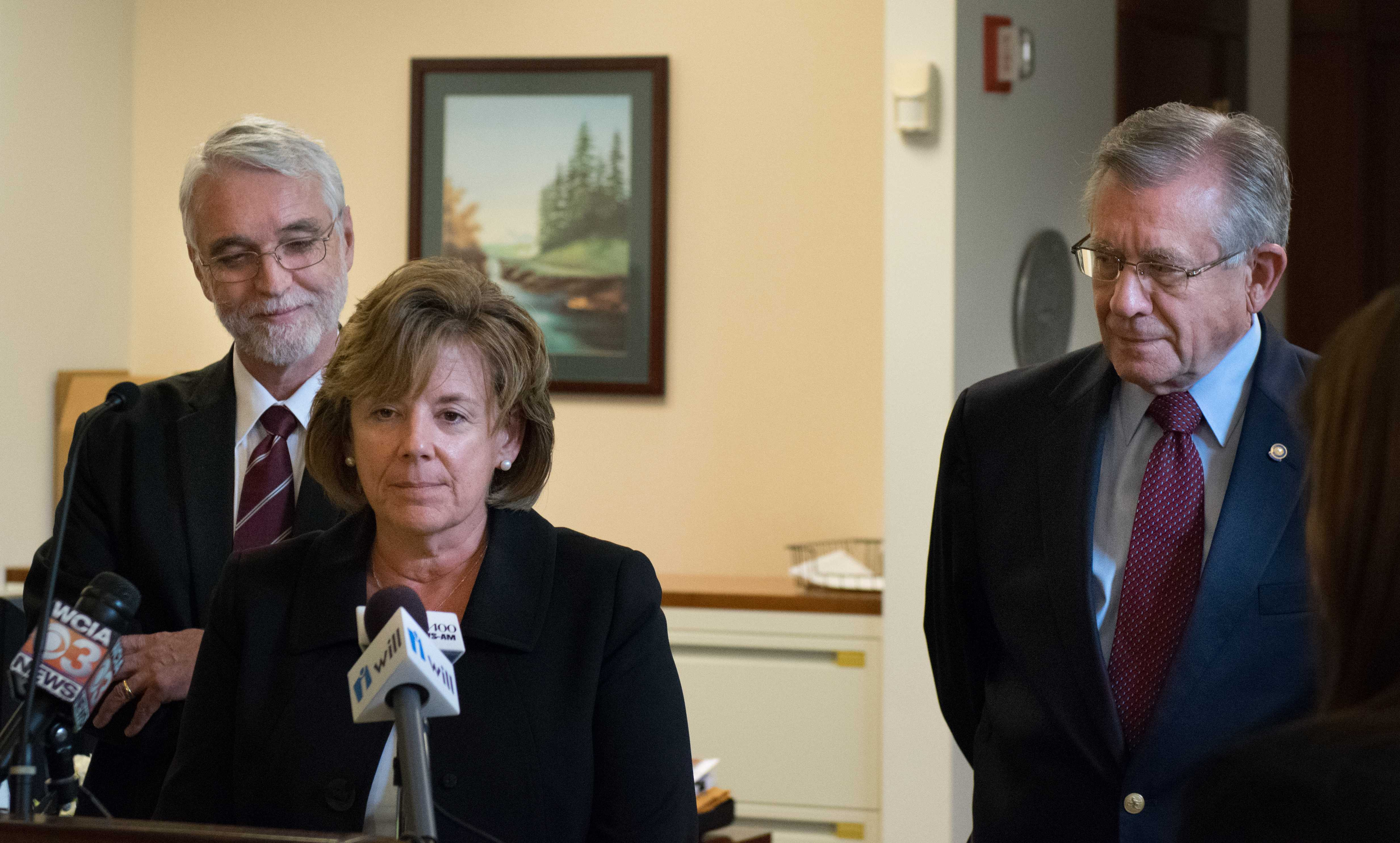 Interim Chancellor and Dean of the College of LAS Barbara Wilson speaks to media, alongside President Timothy Killeen (left) and Board Chairman Edward McMillan (right) following the Board of Trustee's Executive Committee on Wednesday.