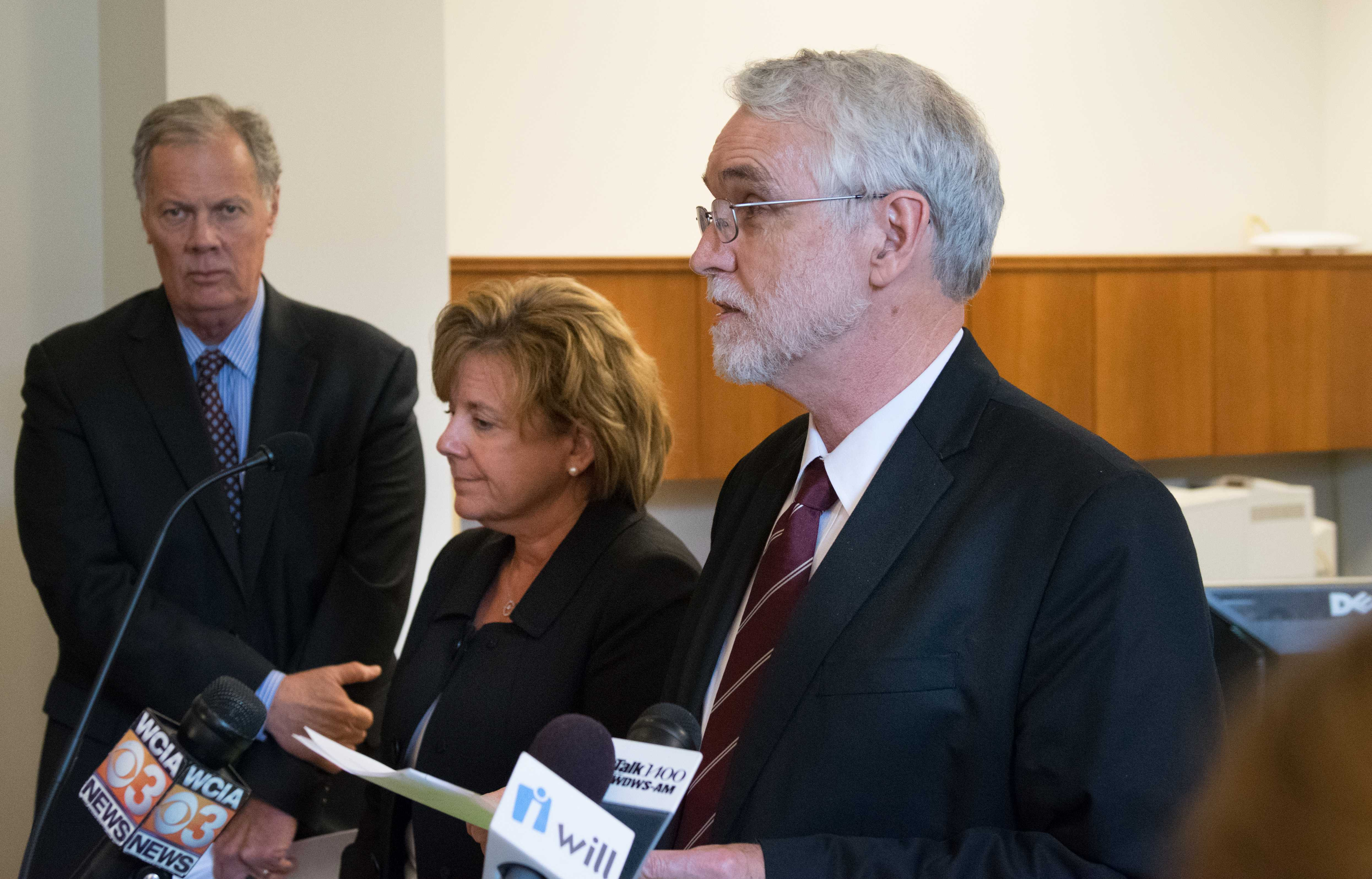 President Timothy Killeen speaks to media, alongside Acting Chancellor Barbara Wilson (left) following the Board of Trustee's executive committee meeting Wednesday.