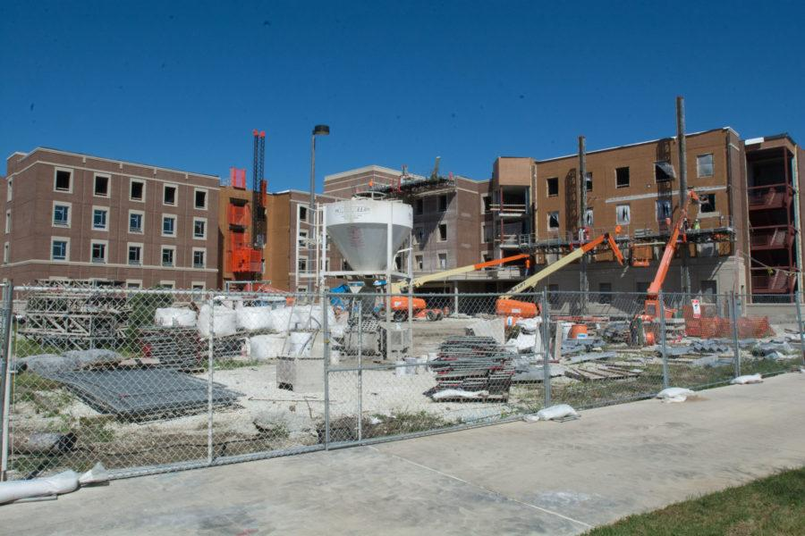 The new dorm Wassaja, in the Six Pack is still under construction.