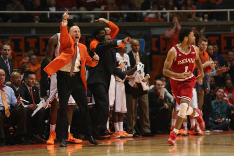 Illinois' head coach John Groce signals to his team during the game against Indiana at State Farm Center on Jan. 18, 2015. The Illini lost 80-74.