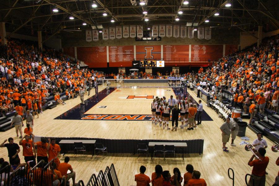 View+of+Huff+Hall+during+the+North+Carolina+volleyball+game+at+Huff+Hall+on+Saturday%2C+August+30%2C+2014.++The+Illini+won+3-0.