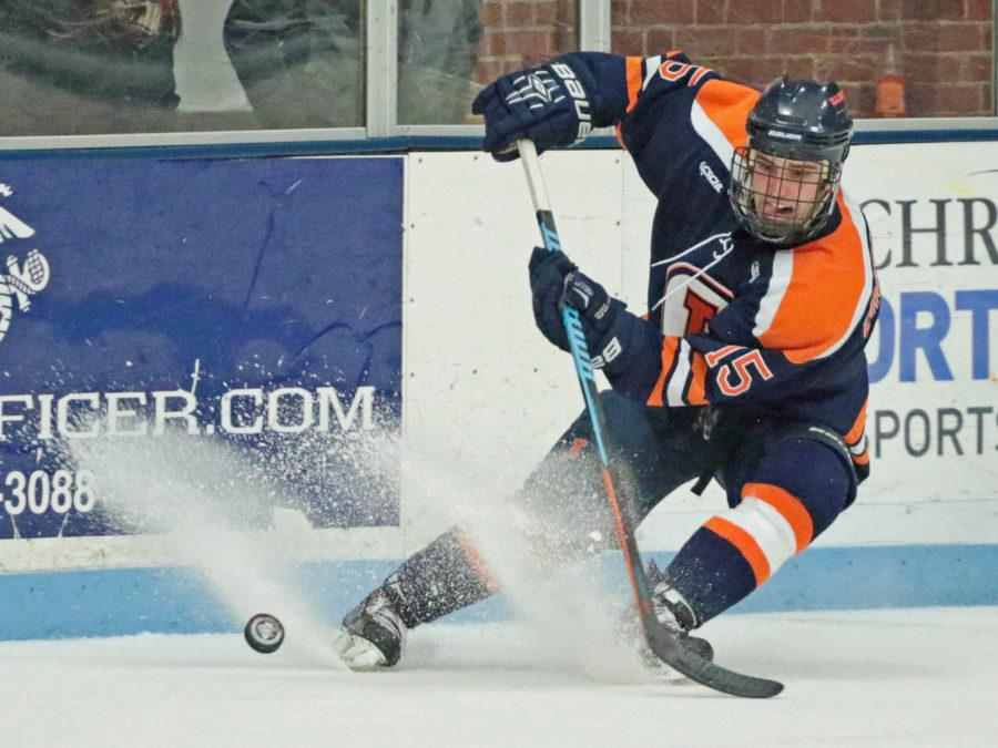 Kevin+Vongnaphone+The+Daily+Illini%0DIllinois%27+Eric+Cruickshank+%2815%29+makes+a+short+pass+during+the+CSCHL+Playoffs+semi-finals+v.+Ohio+University+at+the+Ice+Arena+on+Saturday%2C+Feb.+21%2C+2015.+Illinois+lost+3-5.