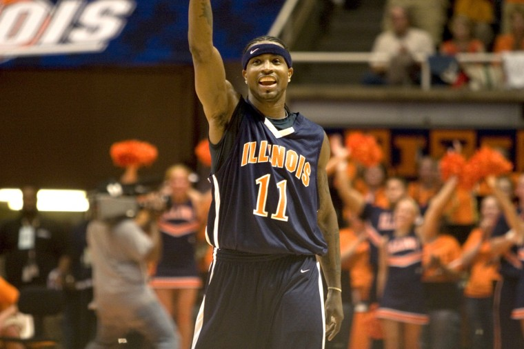 Former Illinois basketball star Dee Brown is introduced at the Alumni Basketball Game, Sept. 13 at Assembly Hall.