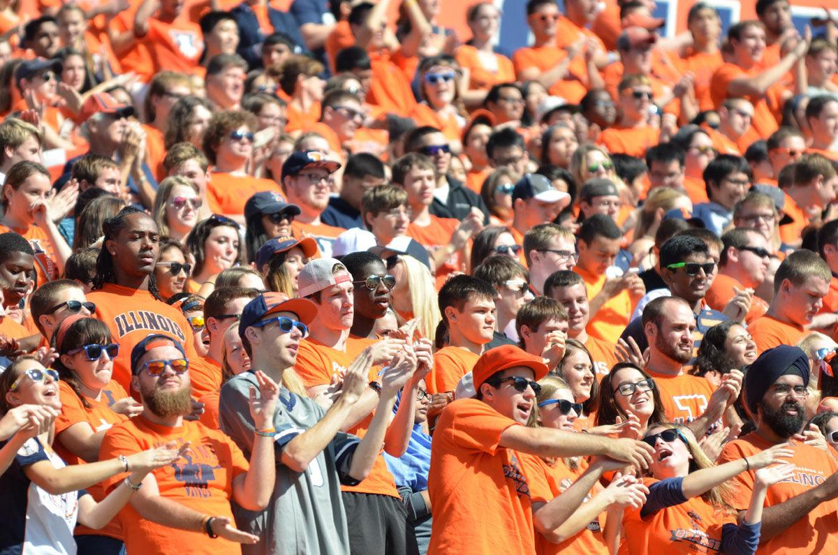 Illinois' dedicated student section, Block I, cheers on the team during the homecoming game against Minnesota at Memorial Stadium on Saturday, Oct. 25, 2014. The Illini won 28-24.