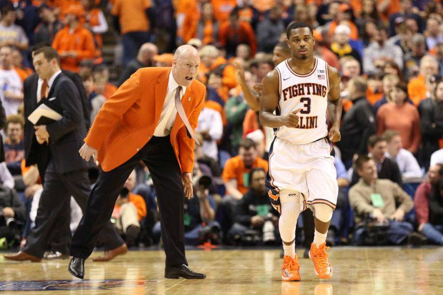 Illinois' head coach John Groce instructs Ahmad Starks (3) after a timeout during the game against Missouri at Scottrade Center in St. Louis, Missouri on Dec.20, 2014. The Illini won 62-59.