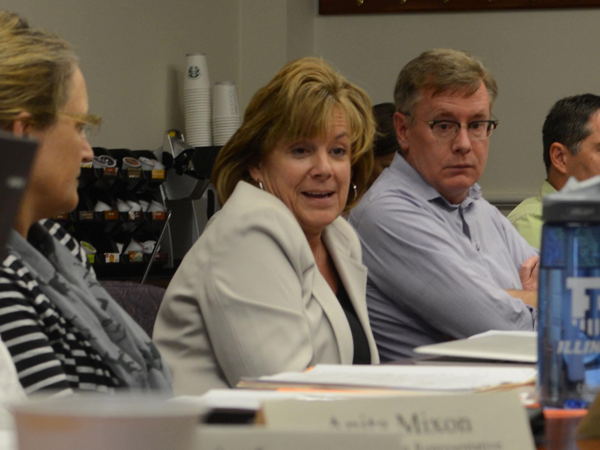 Barbara Wilson, acting chancellor, discusses the future of the University at an SEC meeting Monday.