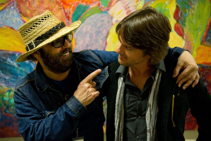 David Spelman backstage with Daniel Lanois at Ellnora 2013.