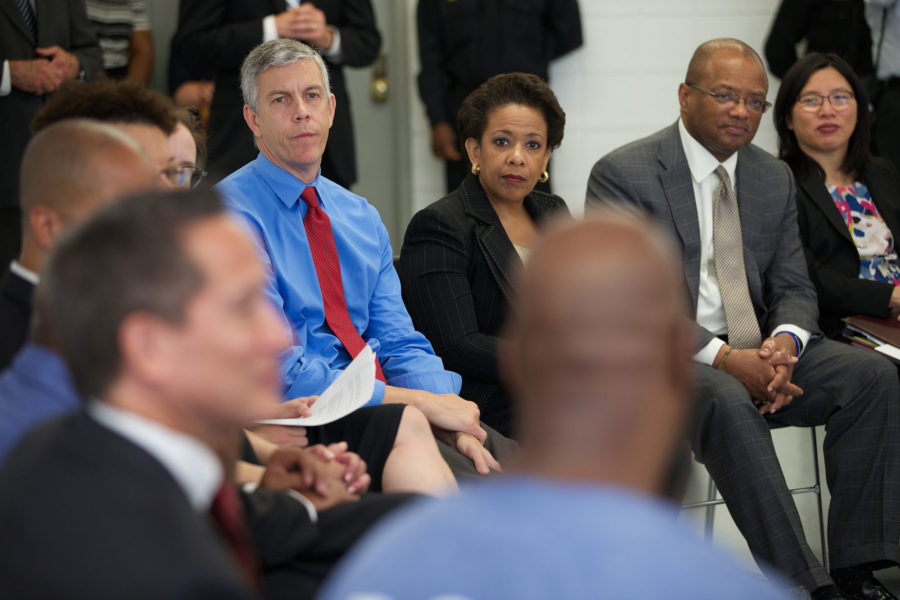 U.S. Secretary of Education Arne Duncan talks at a discussion. Duncan will visit the University campus the week of Sept. 14 for the Back-to-School Bus Tour. | Photo courtesy of U.S. Dept. of Education