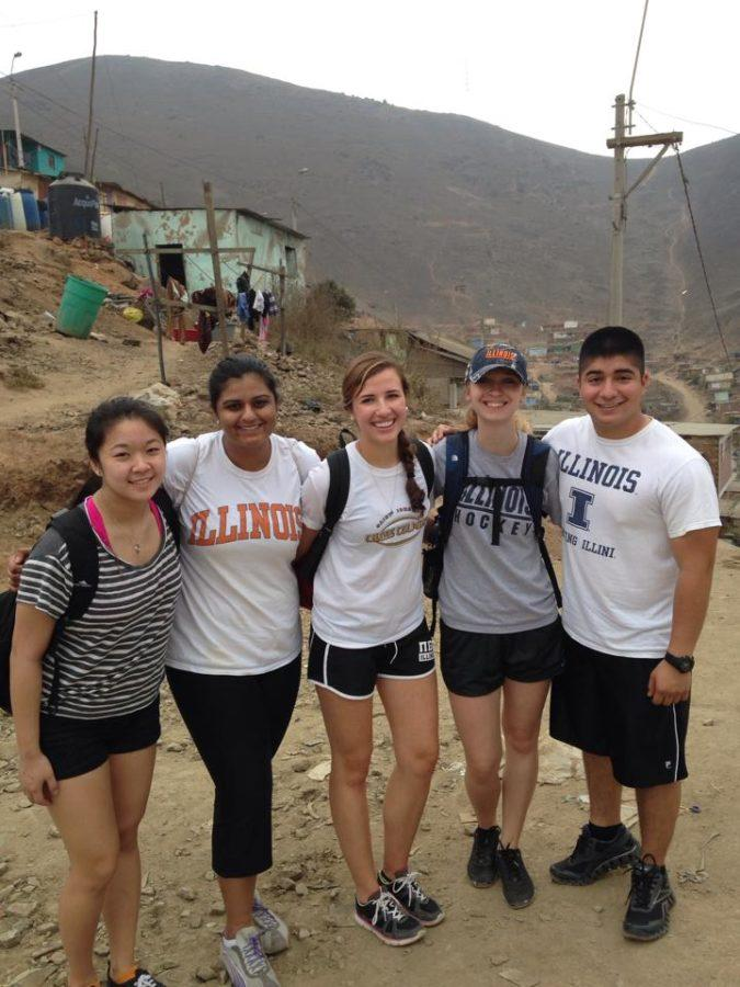 Members of Phi Delta Epsilon, a pre-medical fraternity at the University, volunteer abroad in Lima, Peru, last January.