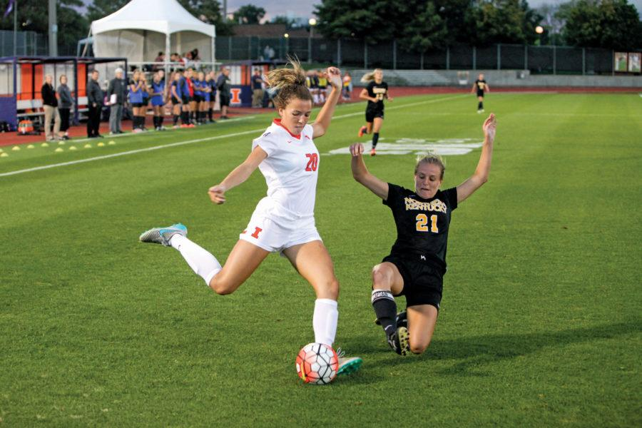 Illinois forward Kara Marbury shoots during the game against Northern Kentucky at Illinois Soccer Stadium on Friday. Mabury took seven shots against the Norse, playing a key role in the Illini's offense.