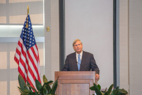 "U.S. Secretary of Agriculture Tom Vilsack speaks on ""The Role of Public Research Universities in Addressing International Food Security"" at Alice Campbell Alumni Center on Thursday."