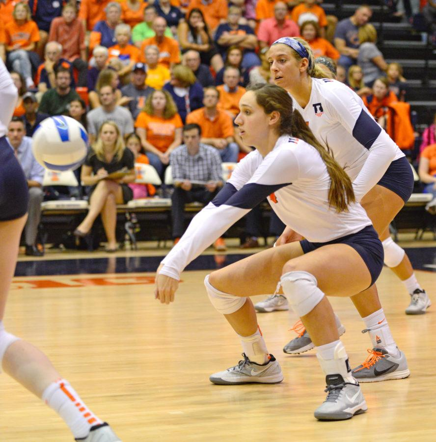 Illinois%27+Michelle+Strizak+%284%29+bumps+the+ball+during+the+game+against+Minnesota+at+Huff+Hall%2C+on+Wednesday%2C+Oct.+1%2C+2014.+The+Illini+won+3-0.