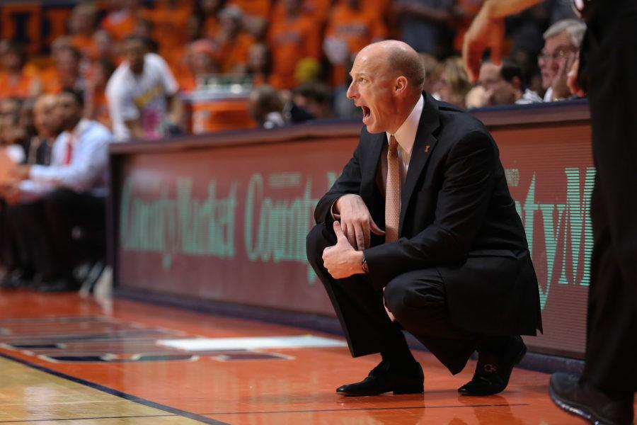 Illinois%27+head+coach+John+Groce+instructs+his+team+from+the+sidelines+during+the+game+against+Coppin+State+at+State+Farm+Center%2C+on+Sunday%2C+Nov.+16%2C+2014.+The+Illini+won+114+to+56.