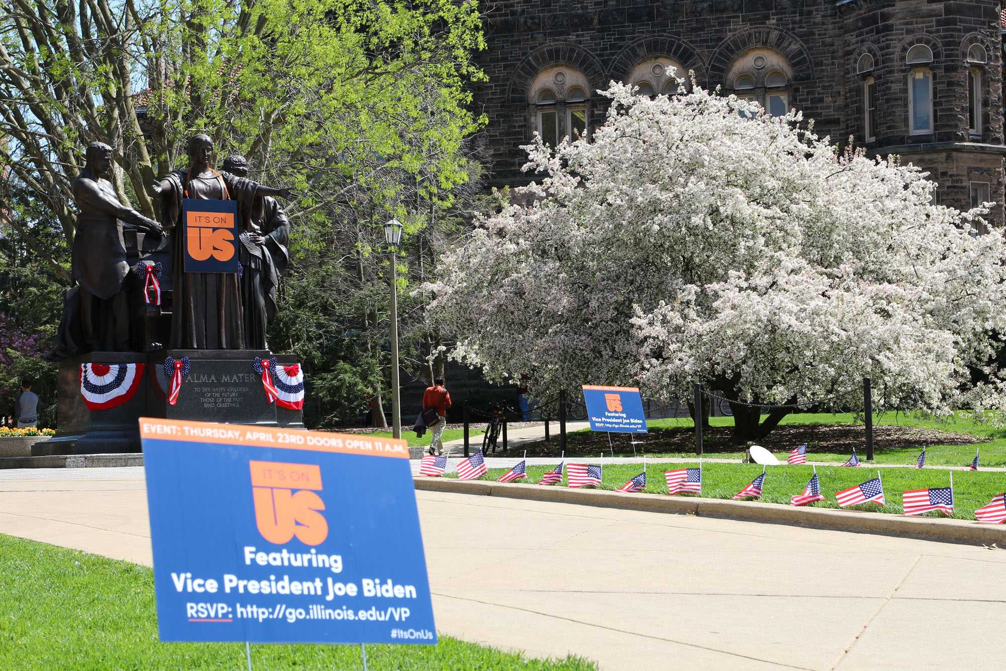 Alma Mater stands near the Main Quad wearing an It's On Us campaign shirt.