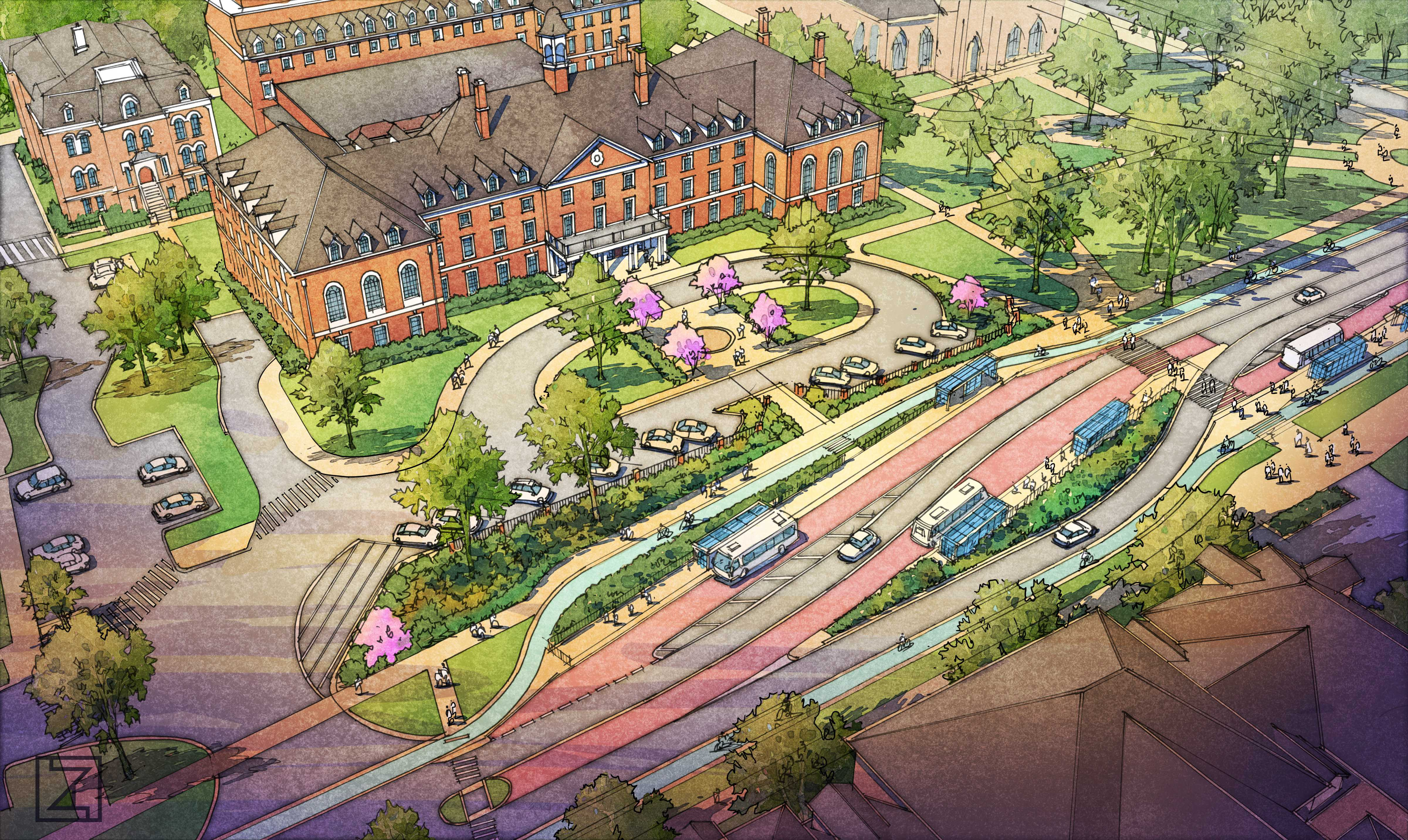An MCORE open house revealed plans for construction on the University's campus. This is a photo illustration of how Green Street will be designed after construction is finished.