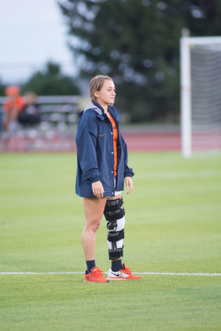 Reagan Robishaw on the sideline during the game against Northern Kentucky at Illinois Track and Soccer stadium on Friday, Sept. 11, 2015.