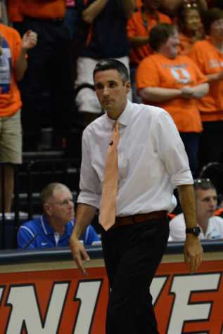Illinois' head coach Kevin Hambly during the game vs Louisville  at Huff Hall on Friday, Aug. 28, 2015.  Illinois won 3-0.