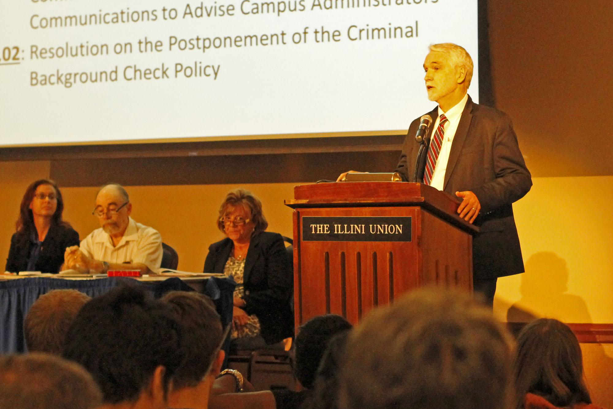 President Timothy L. Killeen addressing the UIUC Senate during their first meeting on September 21st, 2105.