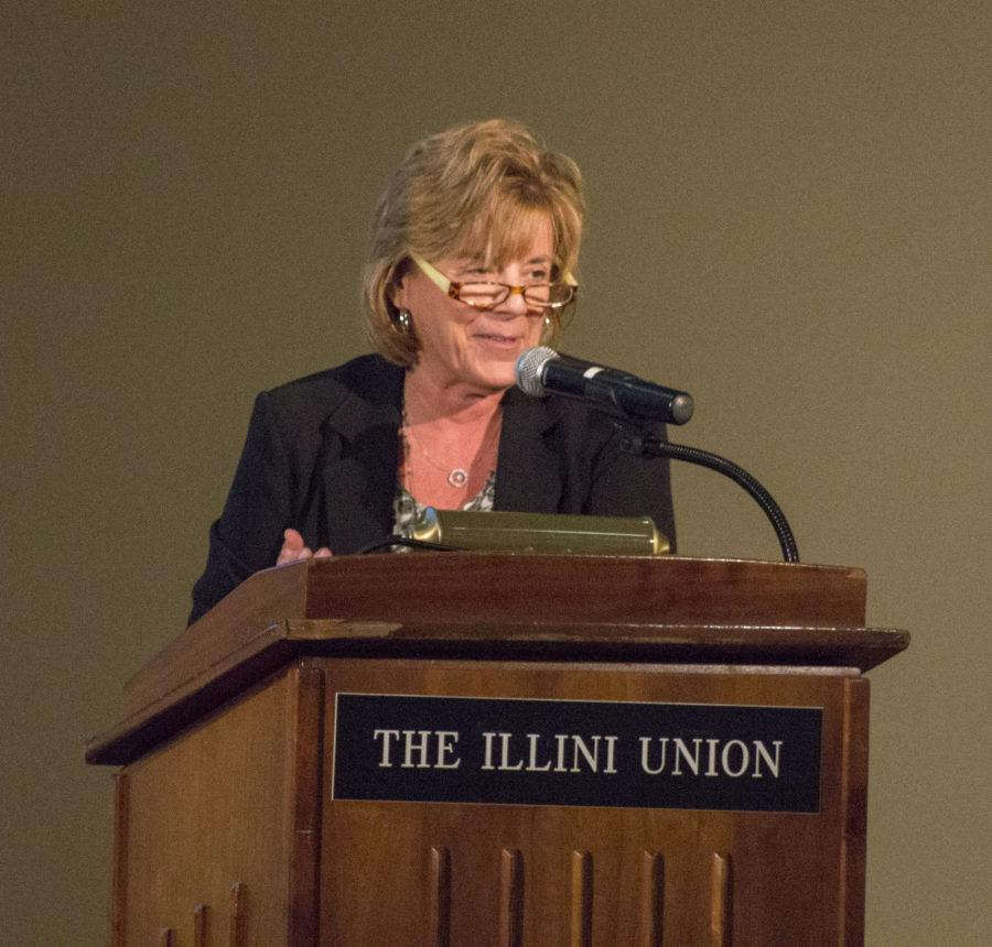 Interim Chancellor Barbara Wilson addressing the UIUC Senate for their first meeting on September 21st, 2015.
