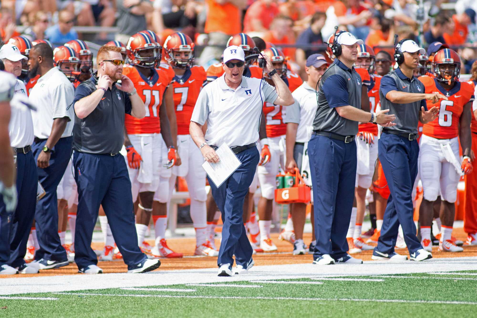 Illinois head football coach Bill Cubit gets fired up on the sideline during the game against Kent State at Memorial Field on Saturday, Sept. 5. Illinois won 52-3.
