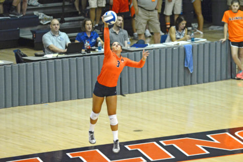 Illinois' Brandi Donnelly (3) serves the ball during the game vs Louisville  at Huff Hall on Friday, Aug. 28, 2015.  Illinois won 3-0.