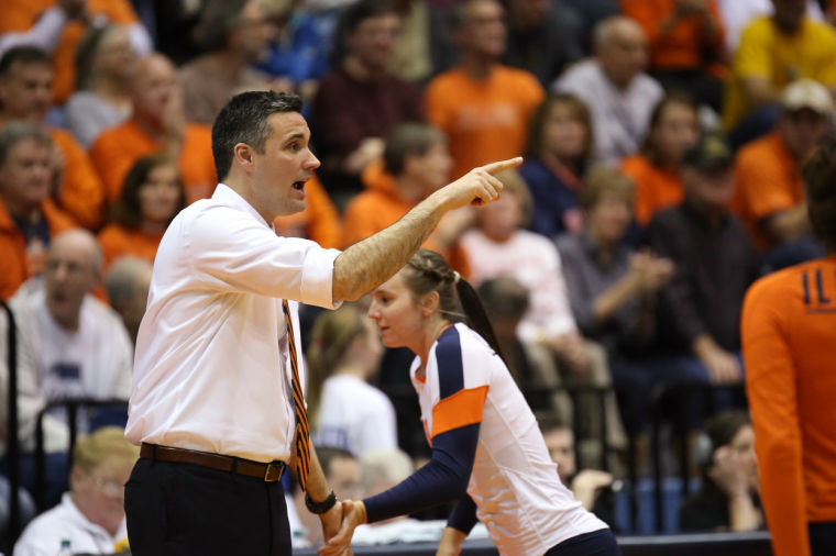 Illinois' head coach Kevin Hambly instructs his team during an NCAA Tournament second-round match against Marquette at Huff Hall on Dec. 7. The Illini won 3-1.