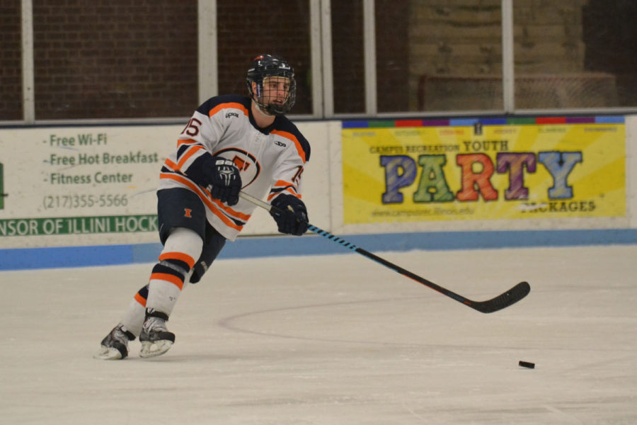Illini+Eric+Cruikshank+gains+control+of+the+puck+during+the+game+against+Lindenwood+on+February+7.+Cruickshank+has+had+to+fill+a+void+left+in+the+Olens%27+absence.