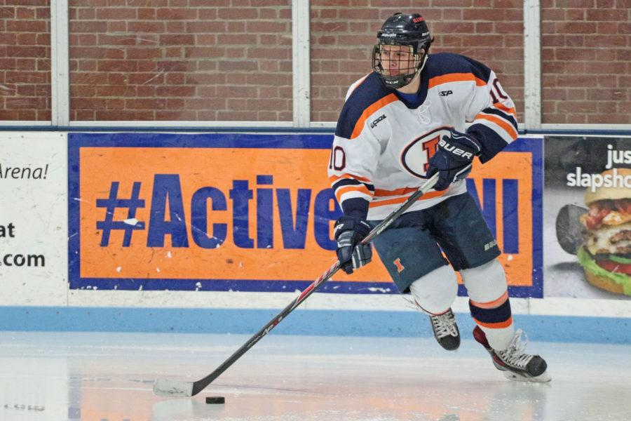 Illinois Josh Belmont (10) manuevers the puck down the rink during round one of the CSCHL hockey tournament v. Iowa State at the Ice Arena on Friday, Feb. 20, 2015. Illinois won 2-1.