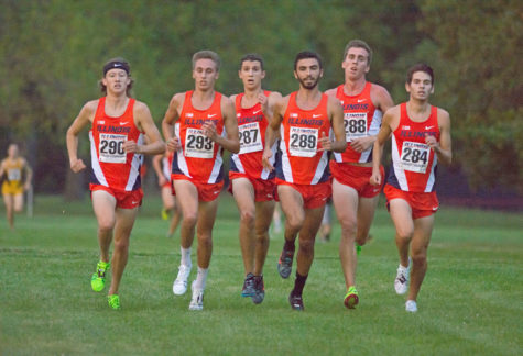 B. Magnesen(290), Z. Smith(293), A. Gold(287), G. Lee(289), D. Lathrop(288), and J. Atchison(284) crossing the finish line together ahead of the other teams at the Illini Challenge 2015 at the Arboretum on September 4.