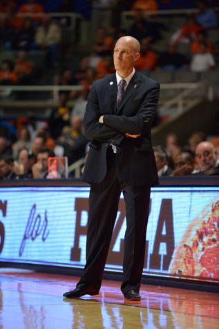 Illinois' head coach John Groce watches the exhibition game against Quincy at State Farm Center on Friday, Nov. 7, 2014.The Illini won 91-62.