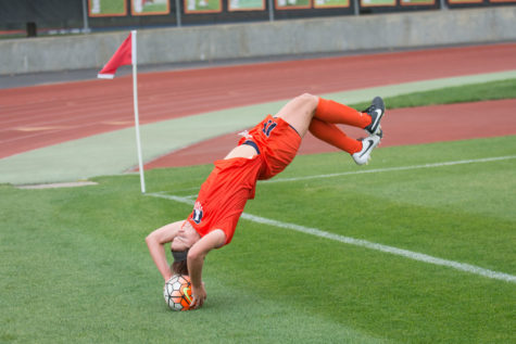 Nicole Breece performs a flip throw during Illinois' 2-1 overtime victory against Maryland at Illinois Soccer and Track Stadium on Thursday.