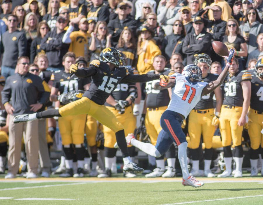 Illinois wide receiver Malik Turner makes a one handed catch during Saturday's game against Iowa at Kinnick Stadium. Illinois lost 29-20.