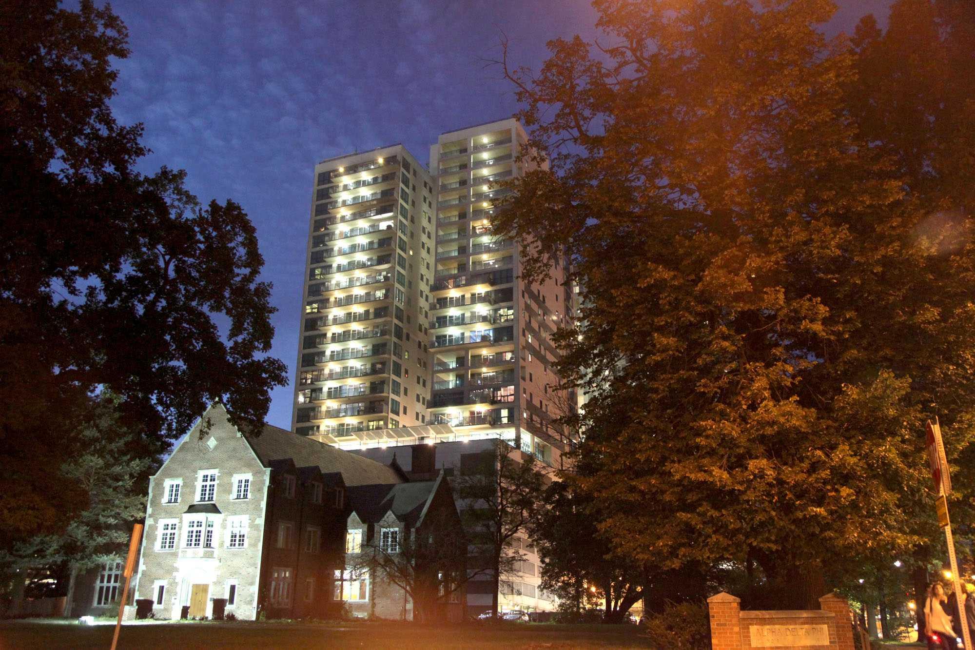 Luxury Housing on UIUC campus at around 7:30 pm. Taken October 5, 2015.