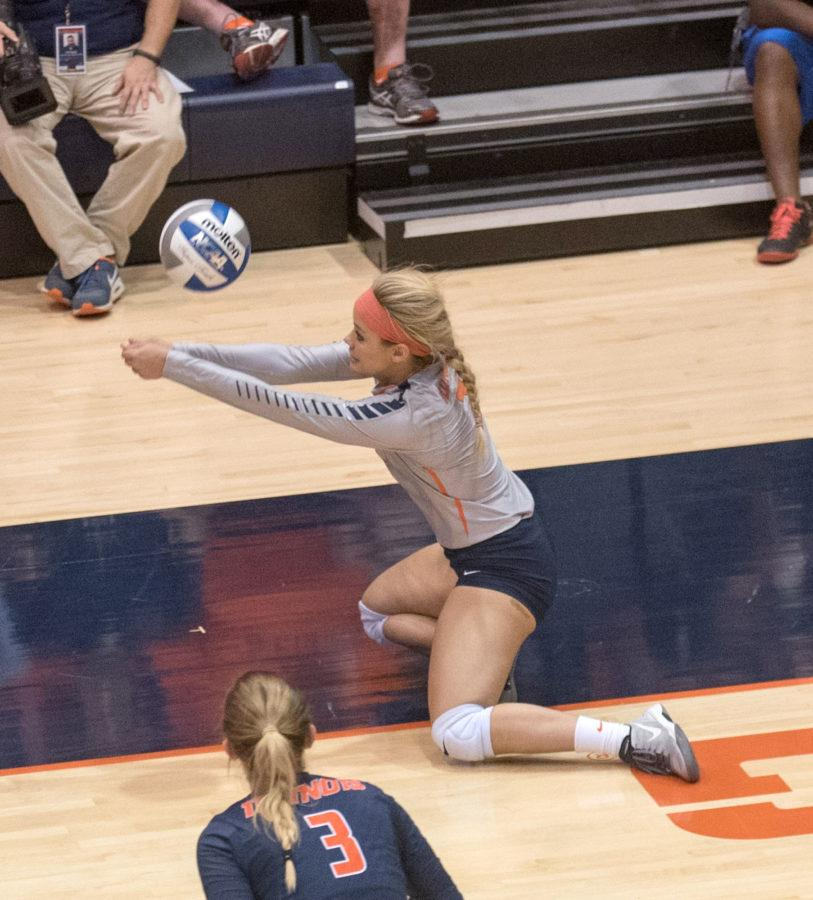 Julia+Conard+digs+the+ball+during+Friday%27s+game+against+Penn+State.+Illinois+lost+1-3.