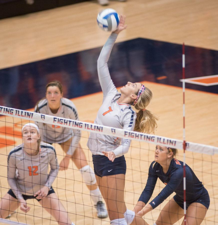 Jocelynn+Birks+spikes+the+ball+during+the+game+against+Penn+State+at+Huff+Hall+on+Friday%2C+October+9.+Illinois+lost+1-3.