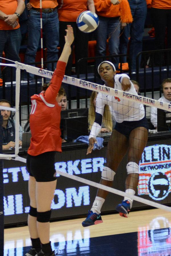 Illinois Naya Crittenden (9) spikes the ball during the match against Ohio State at Huff Hall on Saturday, Oct 10, 2015. Illinois lost 1-3.